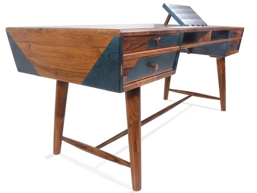 Teak writing desk with drawers AIZVARA by ALANKARAM