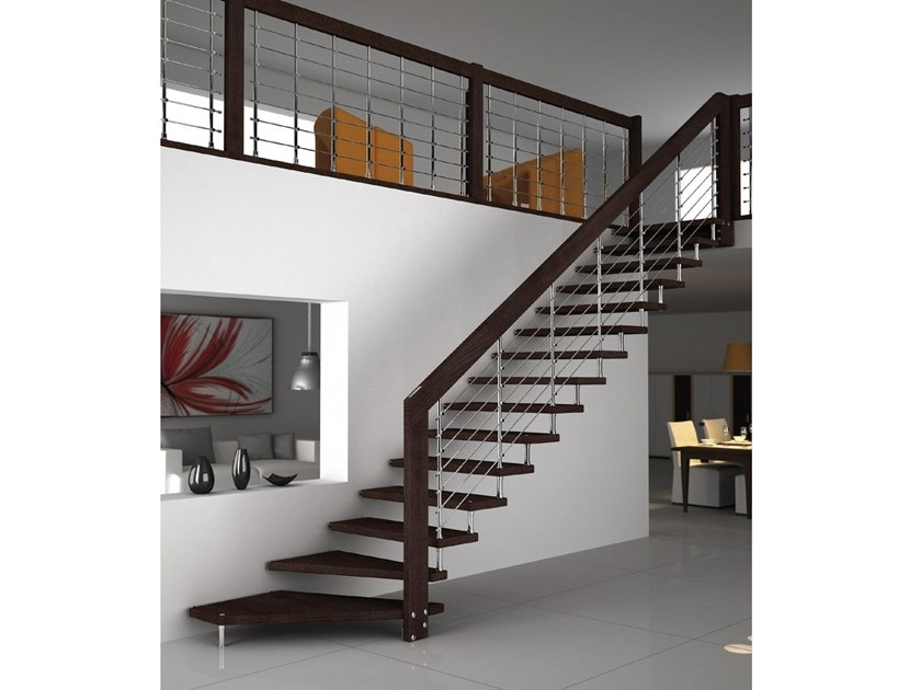 Straight wooden cantilevered staircase AKURA CHROME | Straight Open staircase by MOBIROLO