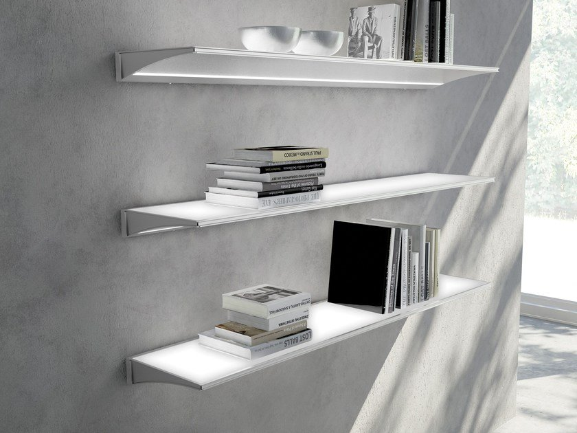 Glass and aluminium wall shelf with integrated lighting ALA by Domus Line