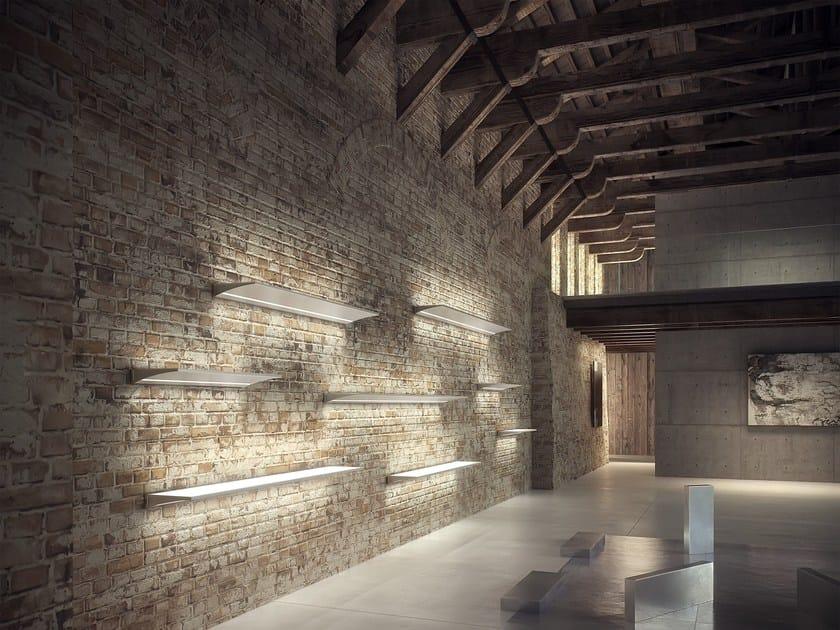 Mensola in alluminio e vetro con illuminazione integrata ala domus