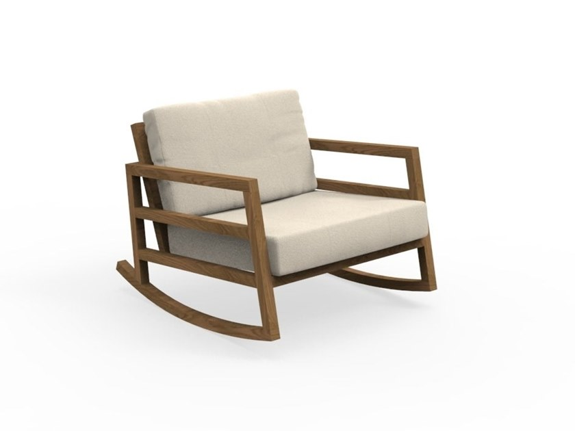Rocking garden armchair with armrests ALABAMA IROKO | Rocking garden armchair by Talenti