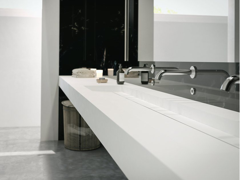 Rectangular wall-mounted Corian® washbasin ALABAMA PLUS by RILUXA