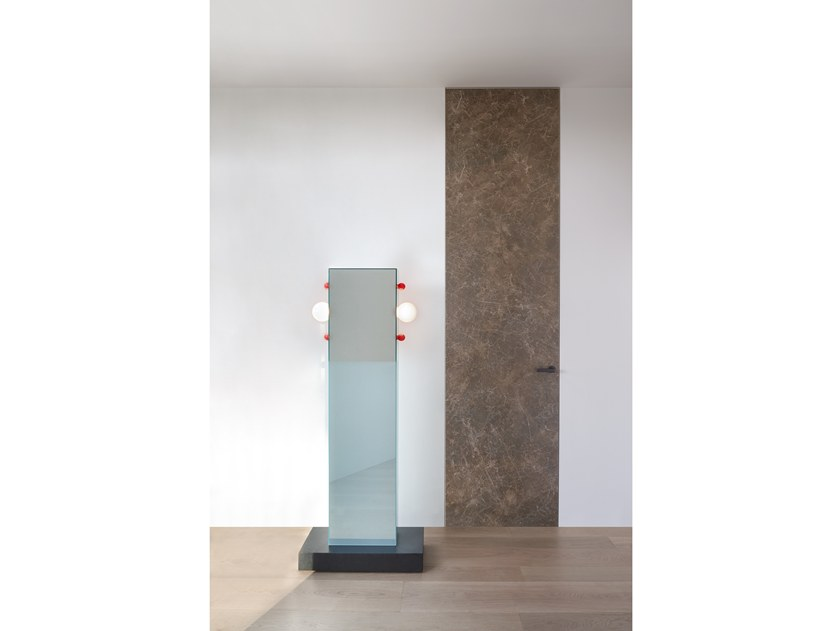 Hinged flush-fitting porcelain stoneware door ALADIN DUO SWING PLAIN by Glas Italia