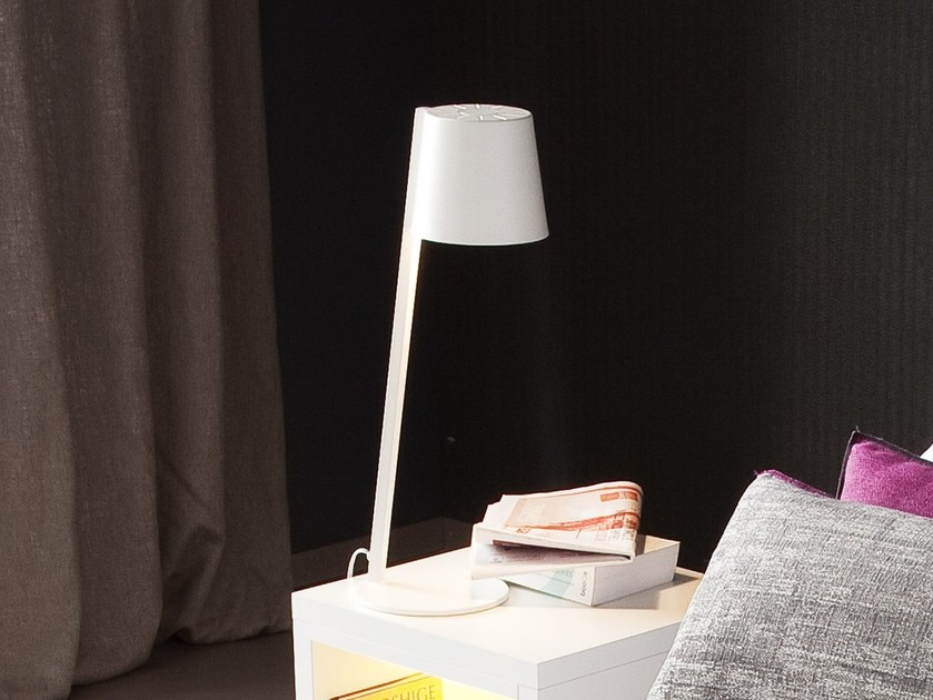 LED direct-indirect light bedside lamp with fixed arm ALADINO by Chaarme