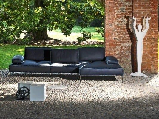 Modular leather sofa with chaise longue ALAN | Sofa with chaise longue by Gobbo Salotti