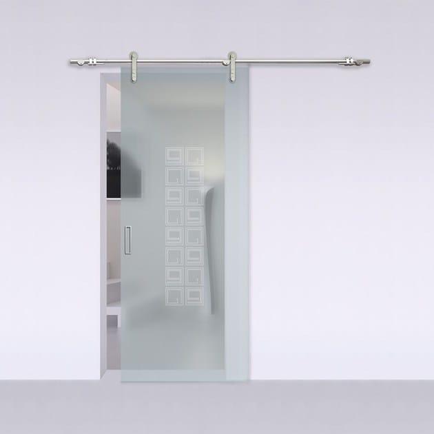 Porta scorrevole in vetro satinato ALASKA STEEL - Bertolotto Porte