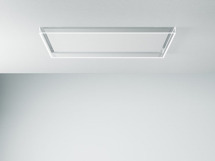 Contemporary style ceiling-mounted glass cooker hood with activated carbon filters with integrated lighting ALBA by Falmec