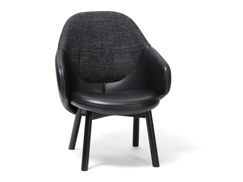 Leather easy chair with armrests ALBA LOUNGE   Easy chair by TON