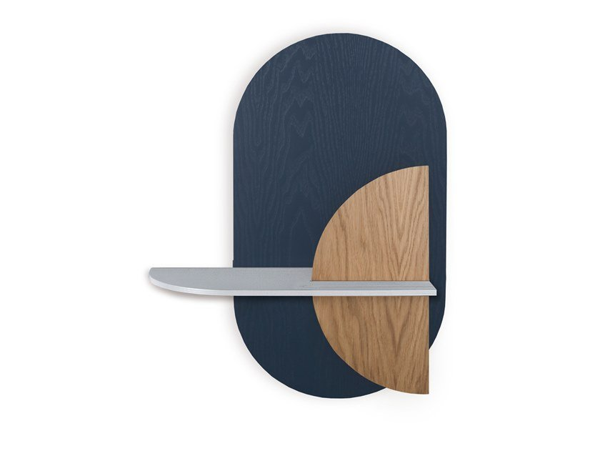 Oval wall shelf with hidden storage ALBA M - OVAL by Woodendot