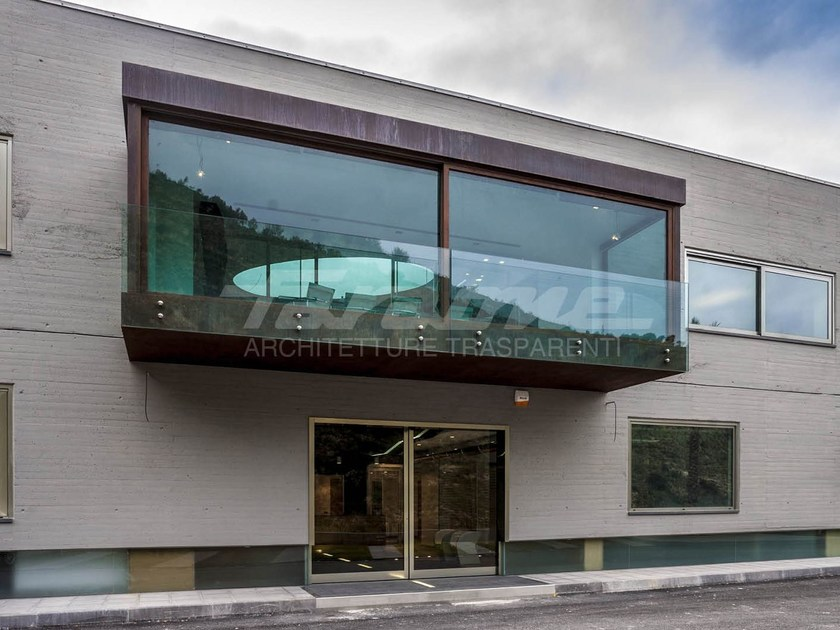Glass and steel balustrade ALBA R09-A by FARAONE