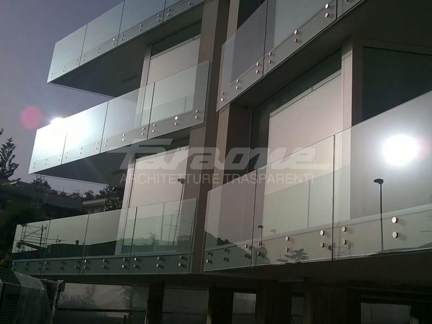 Glass and steel balustrade ALBA R09-B / R09-C by FARAONE