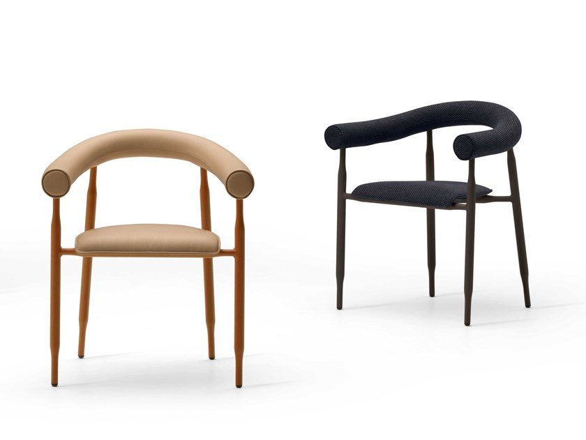 Upholstered chair with armrests ALBEISA by Busnelli