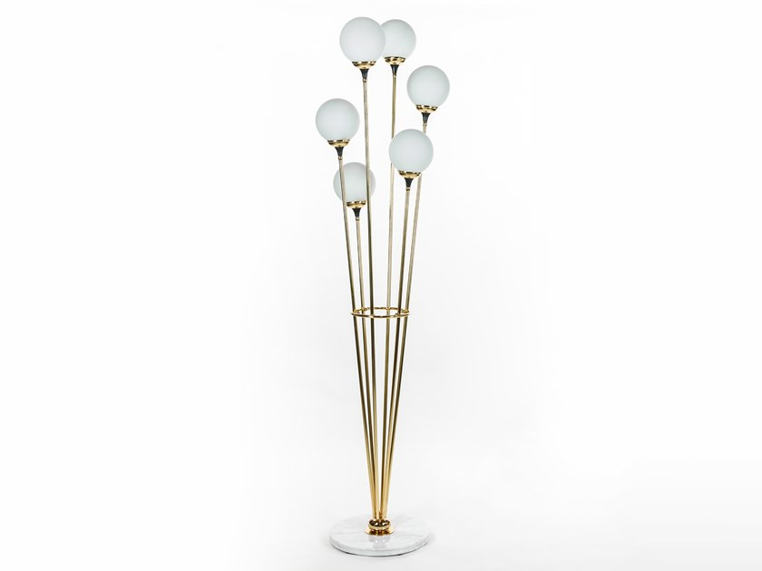 Brass and glass floor lamp ALBERELLO by Stilnovo