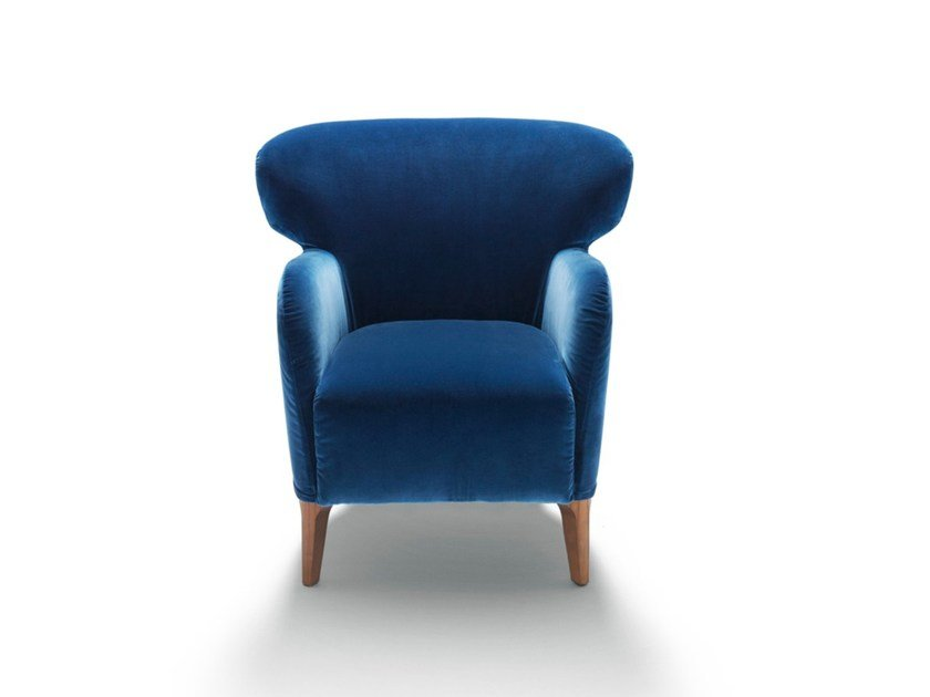 Upholstered fabric armchair with armrests ALBERETA by DE PADOVA