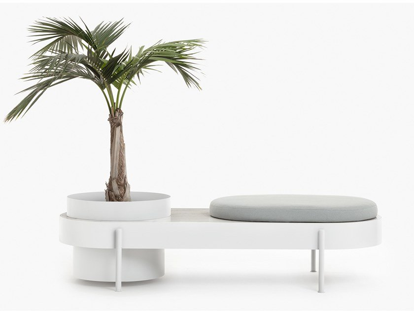 Bench with integrated planter ALBISOLA by Paola Zani