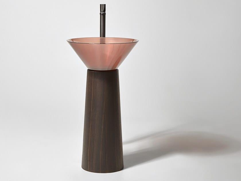 Freestanding round Flumood® and oak washbasin ALBUME CONO OAK by Antonio Lupi Design