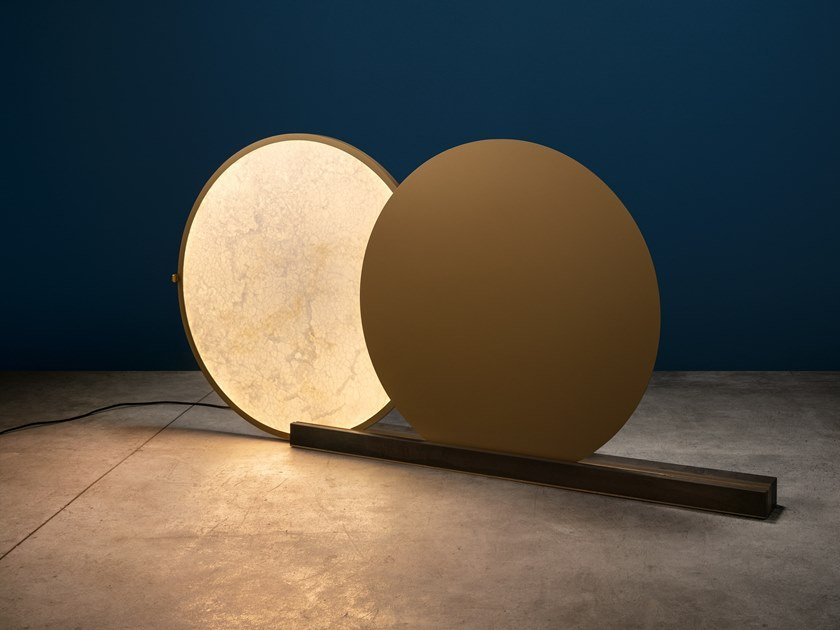 LED alabaster and brass floor lamp ALCHEMIE F by Catellani & Smith