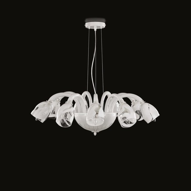 Contemporary style LED handmade glass chandelier ALCHIMIA | Glass chandelier by MULTIFORME