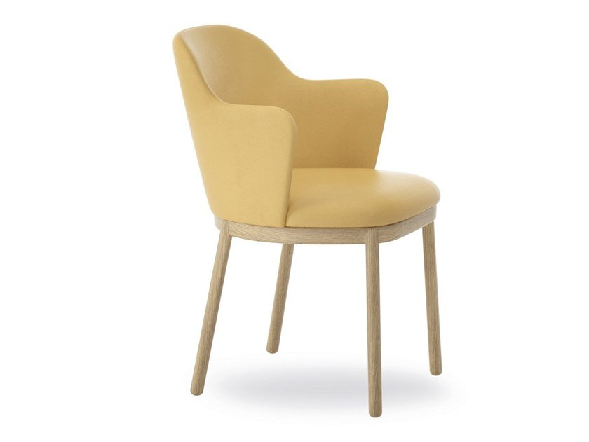 Upholstered fabric chair with armrests ALETA   Chair with armrests by Viccarbe