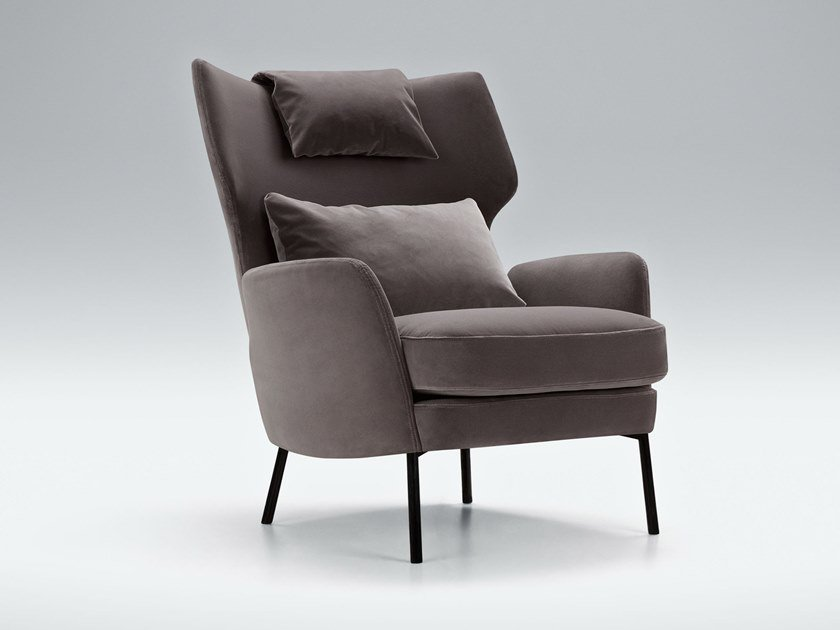 Upholstered fabric armchair with armrests ALEX | Armchair by Sits