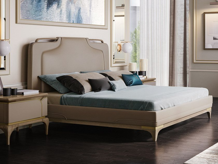 Bed double bed with upholstered headboard ALEXANDER | Bed by A.R. Arredamenti
