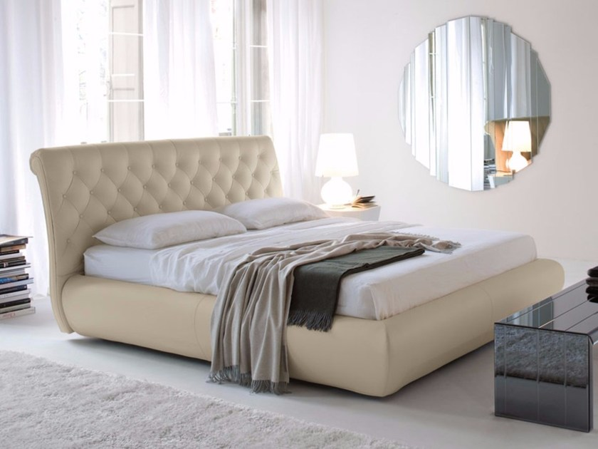 Upholstered double bed with tufted headboard ALEXANDER by Cattelan Italia