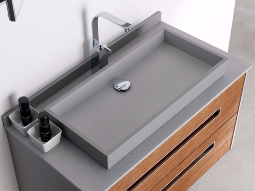 Countertop rectangular single Silexpol® washbasin ALFA by Fiora