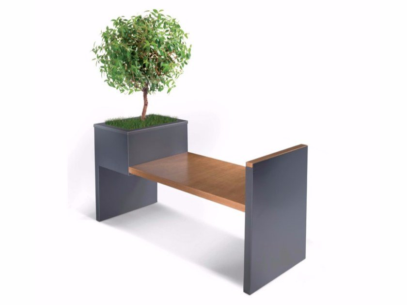 Steel and wood Bench ALFA by LAB23