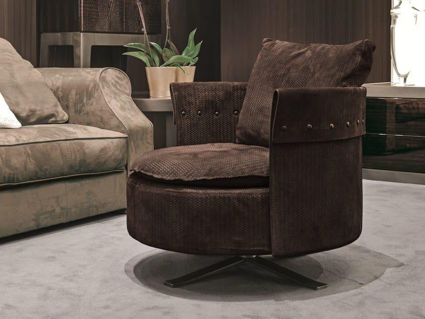 Fabric armchair with 4-spoke base CHARME | Fabric armchair by Longhi