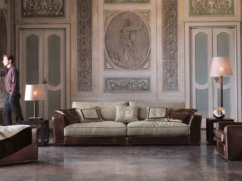 Fabric sofa with removable cover ALFRED by Longhi