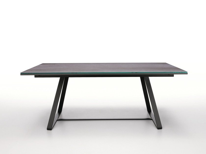 Extending rectangular glass dining table ALFRED by Midj
