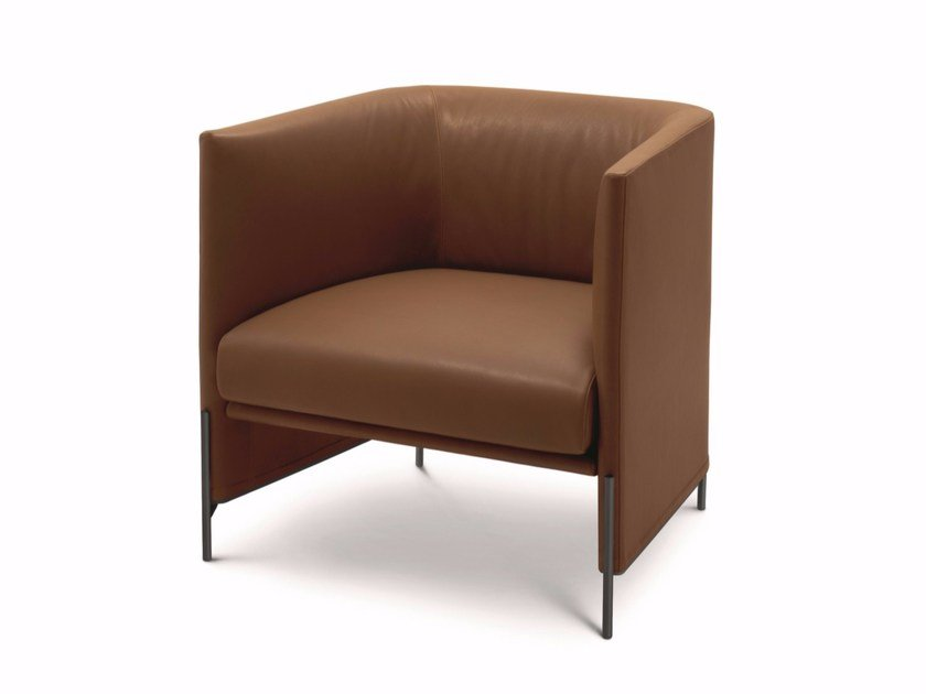 Upholstered leather armchair with armrests ALGON | Leather armchair by arflex