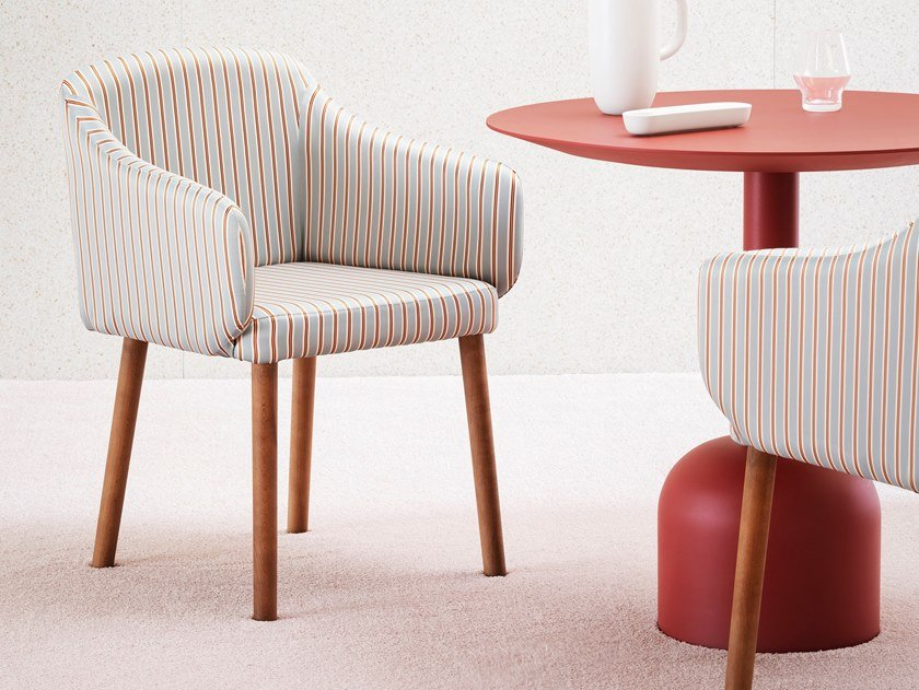 Upholstered chair with armrests ALI | Chair by Miniforms