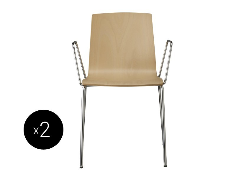 Stackable beech chair with armrests ALICE WOOD | Stackable chair by SCAB DESIGN