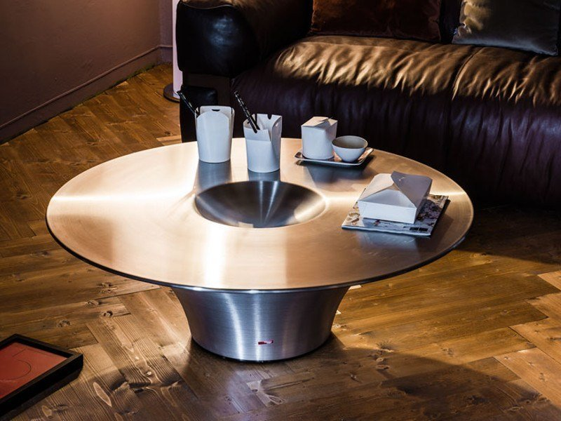Round stainless steel coffee table ALIEN by Cattelan Italia