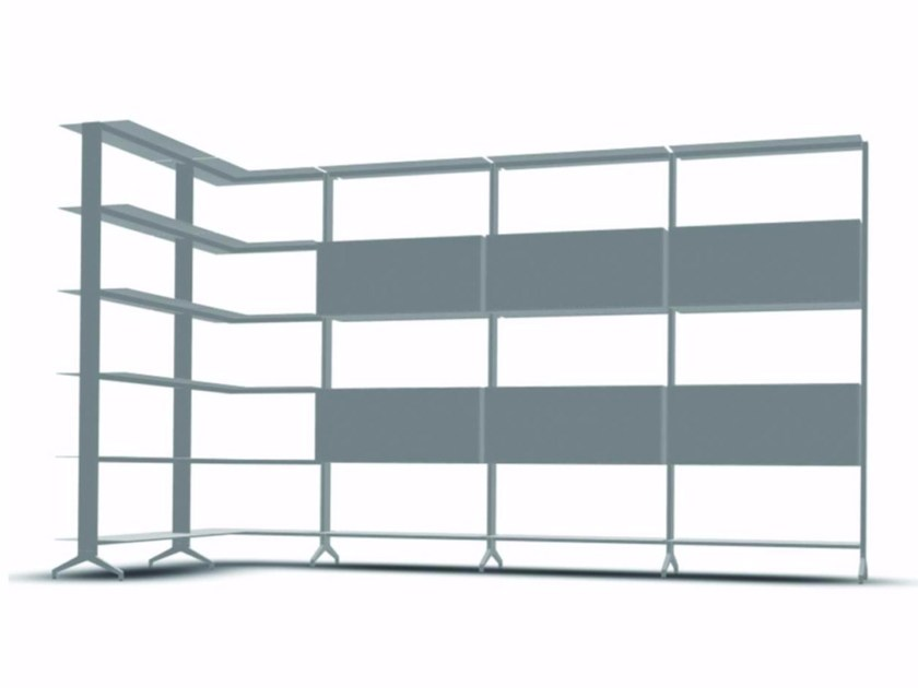 Open modular aluminium bookcase ALINE - J06 by Alias