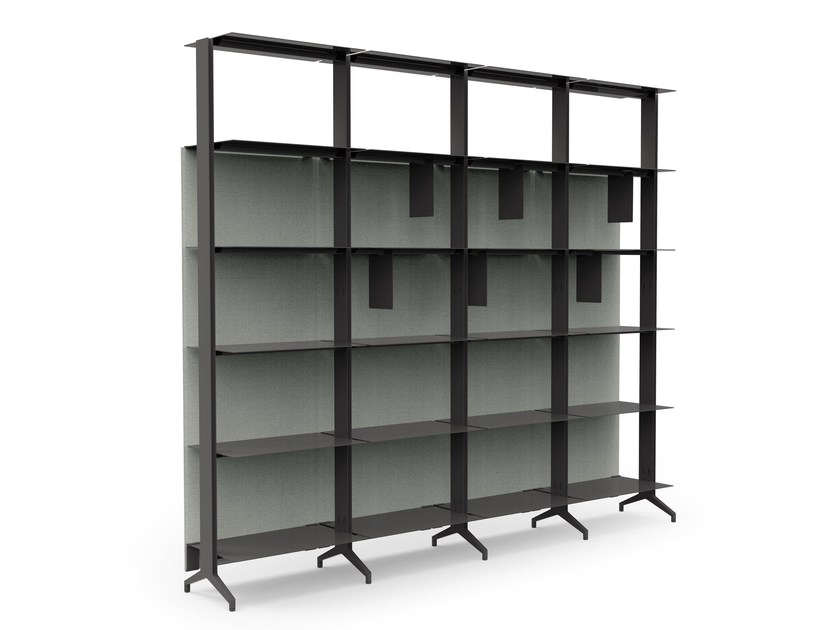 Open sectional floor-ceiling mounted aluminium bookcase ALINE - J08 by Alias