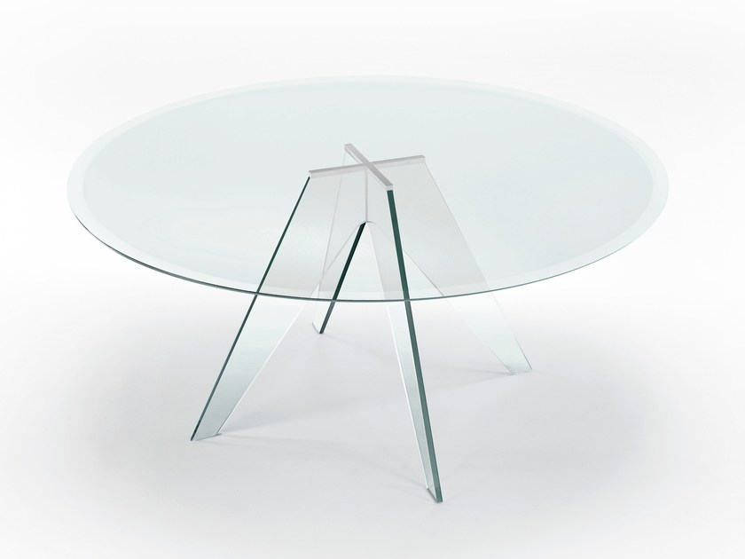 Round crystal table ALISTER | Round table by Glas Italia