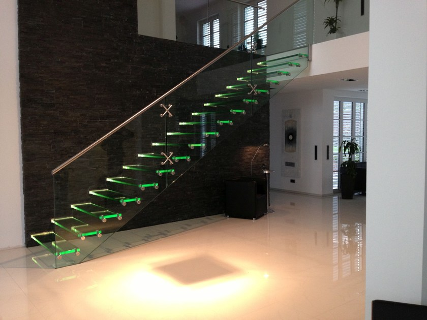 Stairs Treppen all glass staircase with led glass and stainless steel open