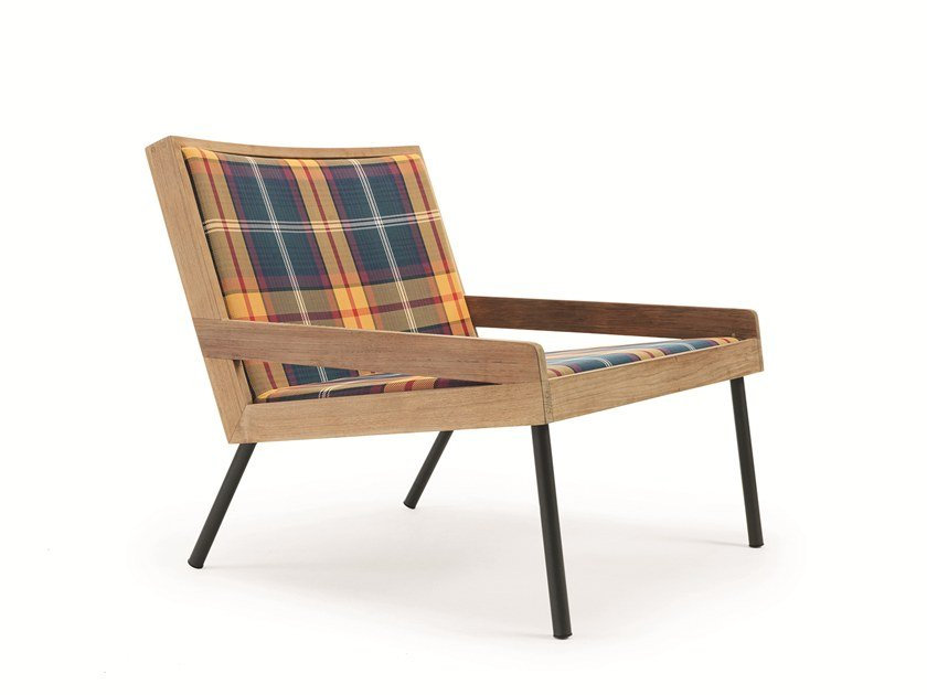 Technical fabric garden armchair with armrests ALLAPERTO MOUNTAIN TARTAN | Garden armchair by Ethimo
