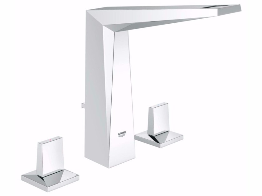 Countertop washbasin tap with pop up waste ALLURE BRILLANT SIZE M   3 hole washbasin tap by Grohe