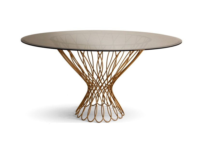 Round Glass And Iron Dining Table Allure By Koket