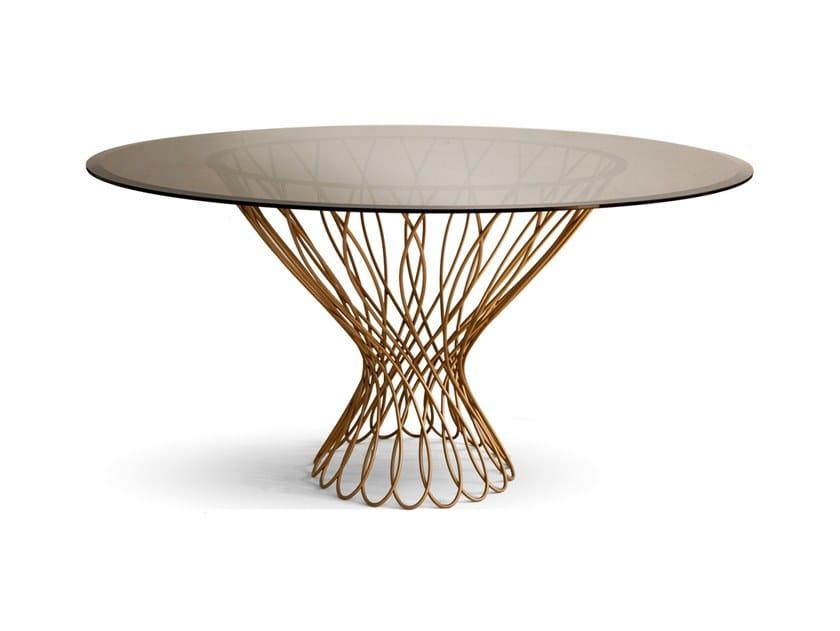 Tavoli Da Pranzo Rotondi In Vetro.Tavolo Da Pranzo Rotondo In Ferro E Vetro Allure By Koket