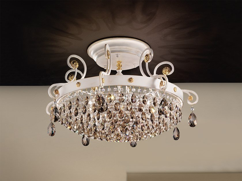 Direct light metal ceiling lamp with Swarovski® crystals ALLURE PL8 by Masiero