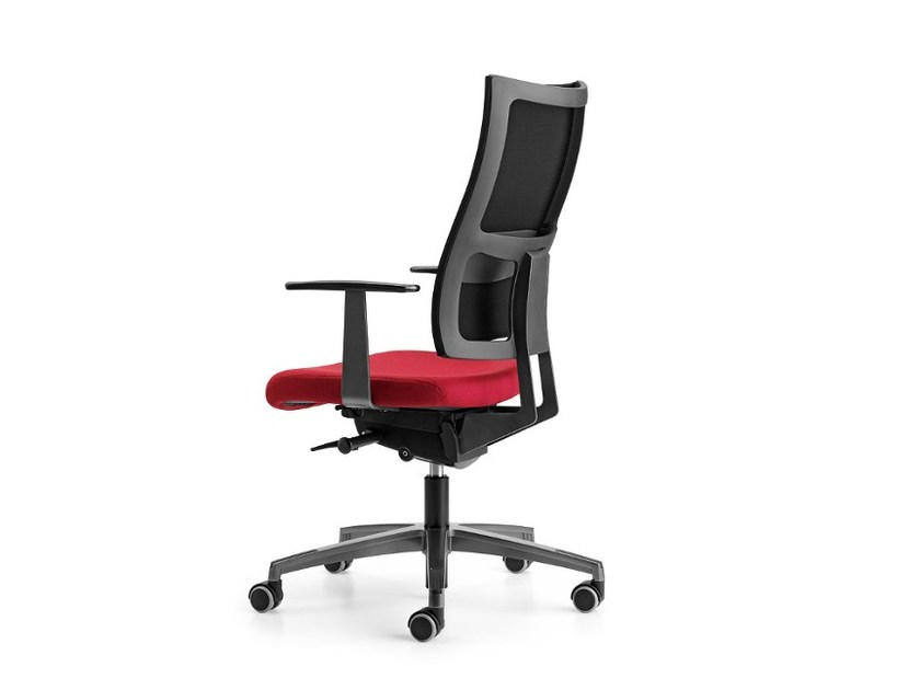 Mesh task chair with 5-Spoke base with armrests with casters ALLYNET 1767 by TALIN