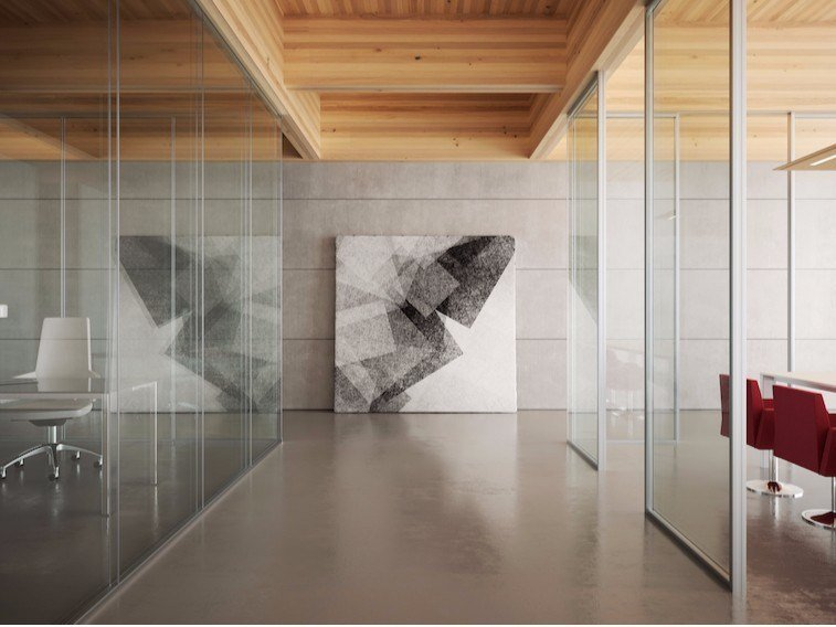 Glass and aluminium movable wall ALLinONE SLIM by MASCAGNI