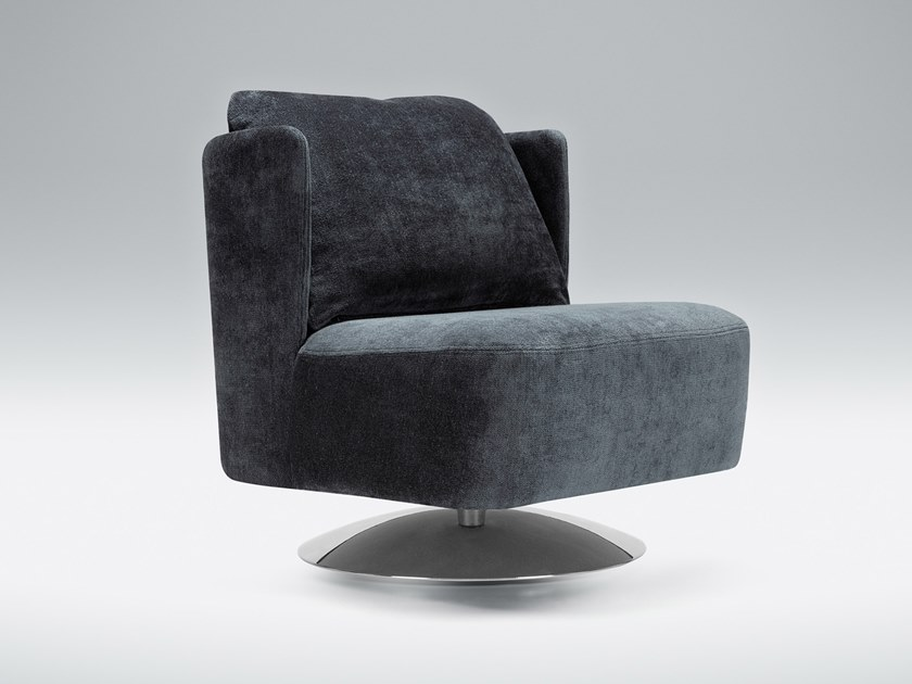 Tufted swivel upholstered fabric armchair ALMA | Swivel armchair by Sits