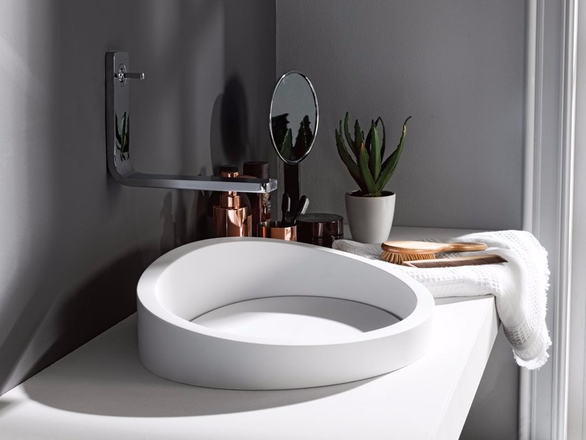 Krion® washbasin ALMOND | Semi-inset washbasin by Systempool