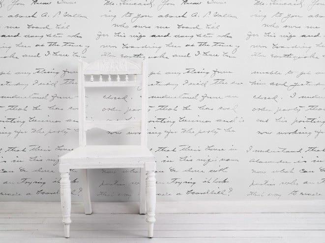 Writing vinyl wallpaper ALMOST WHITE CONCRETE LOVELETTER by Mineheart