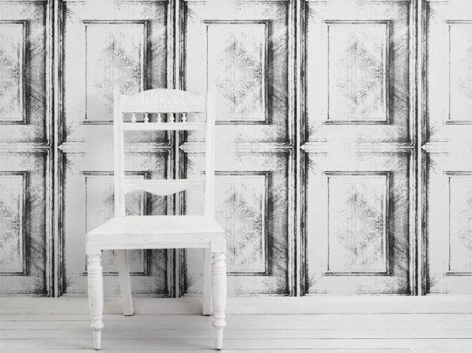 Motif vinyl wallpaper ALMOST WHITE DUTCH INLAY by Mineheart